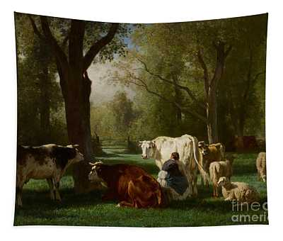 Landscape With Cattle And Sheep Tapestry
