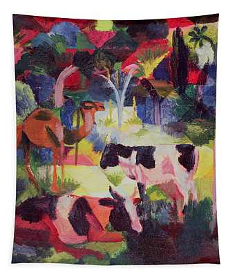 Landscape With Cows And A Camel Oil On Canvas Tapestry
