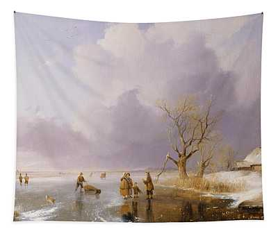 Landscape With Frozen Canal Tapestry