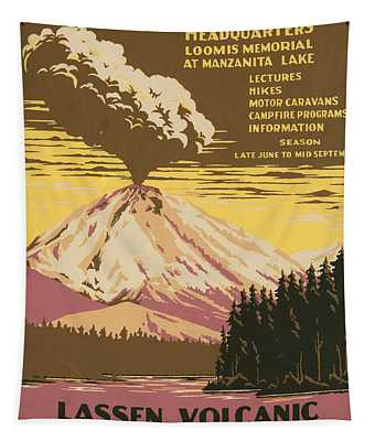 Lassen Travel Poster 1938 Tapestry