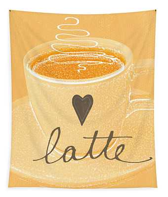 Latte Love In Orange And White Tapestry
