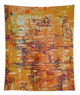 Lattice Animals Abstract Oil Painting By Regina Valluzzi Tapestry