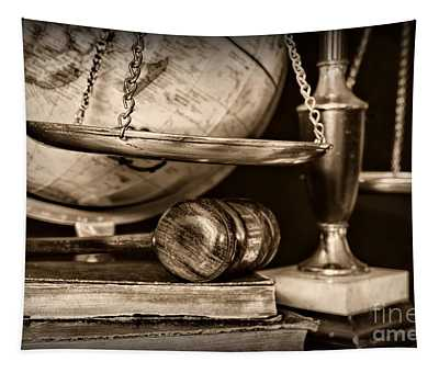 Lawyer The Scales Of Justice In Black And White Tapestry