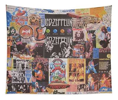 Led Zeppelin Years Collage Tapestry