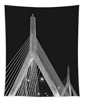 Tapestry featuring the photograph Leonard P. Zakim Bunker Hill Memorial Bridge Bw II by Susan Candelario