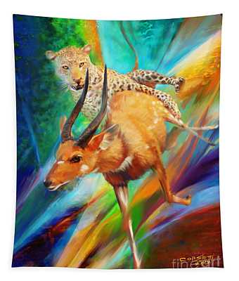 Leopard Attack Tapestry