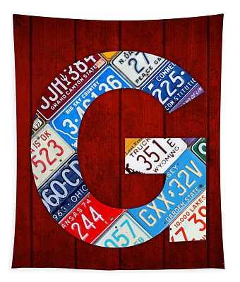 Letter G Alphabet Vintage License Plate Art Tapestry