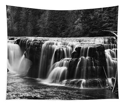 Lewis River Lower Falls Black And White Tapestry