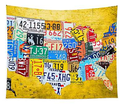 License Plate Art Map Of The United States On Yellow Board Tapestry
