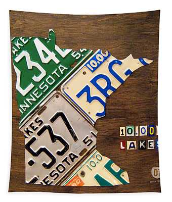 License Plate Map Of Minnesota By Design Turnpike Tapestry