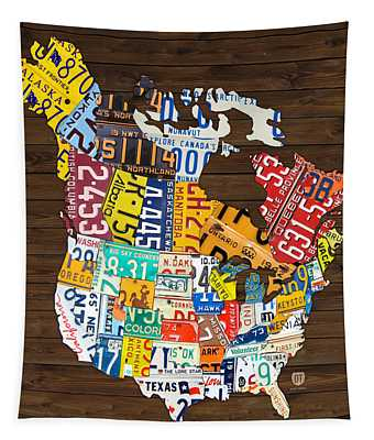 License Plate Map Of North America - Canada And United States Tapestry