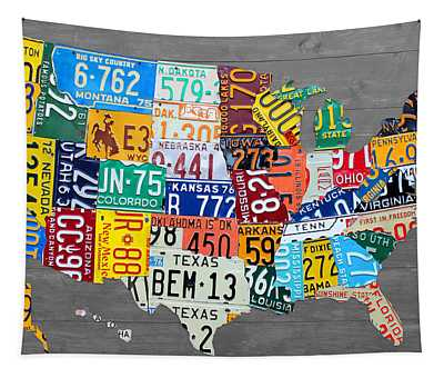License Plate Map Of The United States On Gray Wood Boards Tapestry