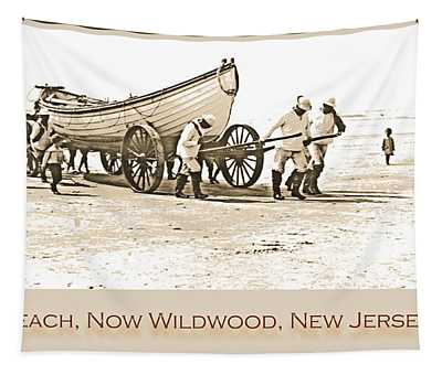 Lifeguards And Lifeboat Holly Beach  Now Wildwood New Jersey 190 Tapestry