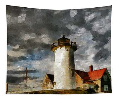 Light House In A Storm Tapestry