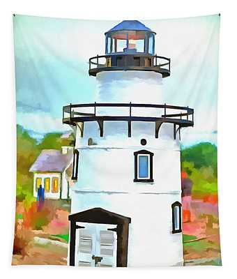 Lighthouse At Old Saybrook Point Tapestry