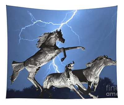 Lightning At Horse World Bw Color Print Tapestry