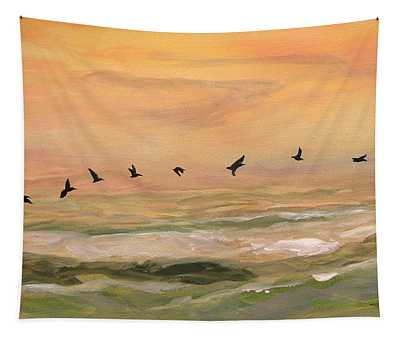 Line Of Pelicans Tapestry
