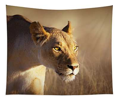 Lioness Portrait-1 Tapestry