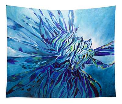 Lionfish Abstract Blue Tapestry