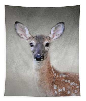 Little Miss Lashes - White Tailed Deer - Fawn Tapestry