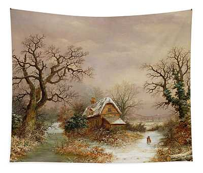 Little Red Riding Hood In The Snow Tapestry