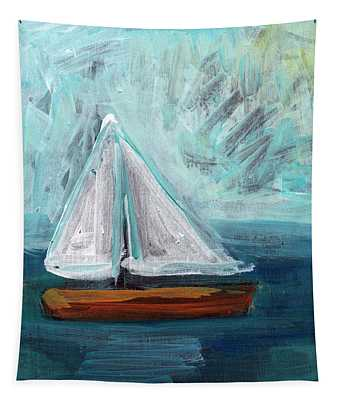 Little Sailboat- Expressionist Painting Tapestry