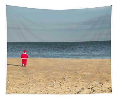 Little Santa On The Beach Tapestry