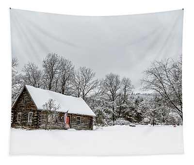 Log Cabin In The Snow Tapestry