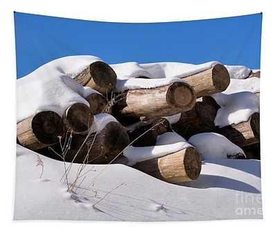 Log Pile In A Snow Drift In Winter Tapestry