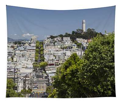 Lombard Street And Coit Tower On Telegraph Hill Tapestry