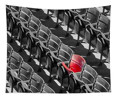 Lone Red Number 21 Fenway Park Bw Tapestry