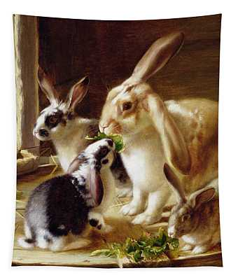 Long-eared Rabbits In A Cage Watched By A Cat Tapestry