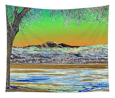Longs Peak Winter Landscape Solarized Tapestry