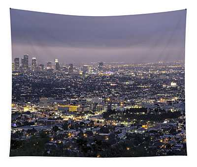 Los Angeles At Night From The Griffith Park Observatory Tapestry