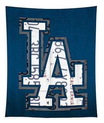 Los Angeles Dodgers Baseball Vintage Logo License Plate Art Tapestry