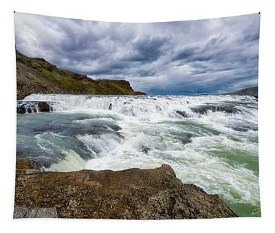 Lots Of Water Gullfoss Waterfall Iceland Tapestry