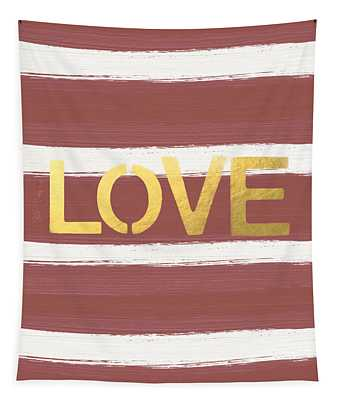 Love In Gold And Marsala Tapestry