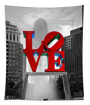 Love Is Always Black And White Square Tapestry