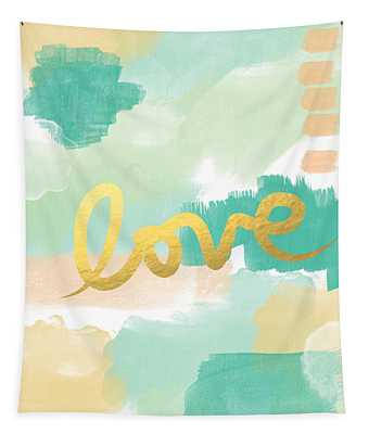 Love With Peach And Mint Tapestry