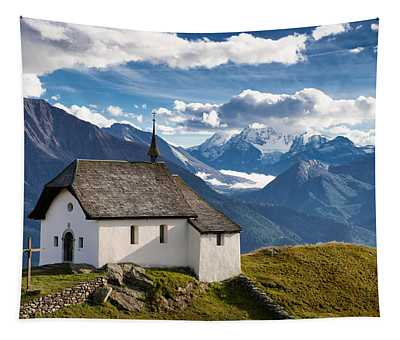 Lovely Little Chapel In The Swiss Alps Tapestry