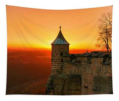 Low Sun On The Fortress Koenigstein Tapestry