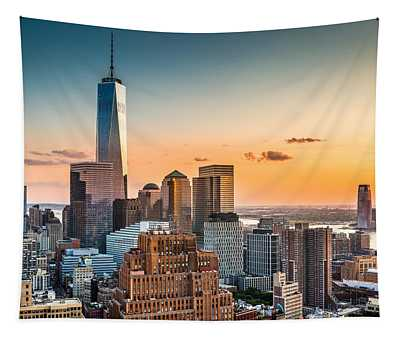 Lower Manhattan At Sunset Tapestry