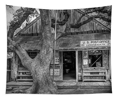 Luckenbach 2 Black And White Tapestry
