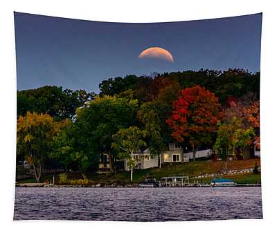 Lunar Eclipse Over Pewaukee Lake Tapestry