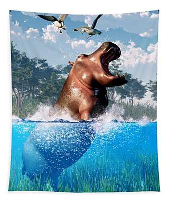 Lunging Hippo  Tapestry
