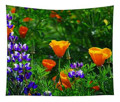 Lupines And Poppies Tapestry