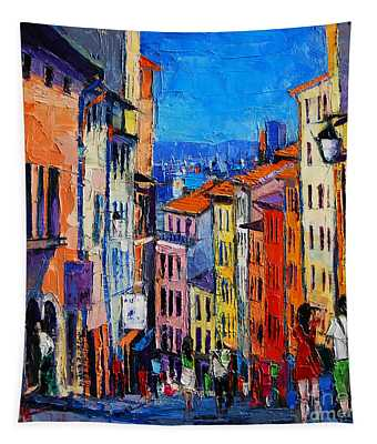 Lyon Colorful Cityscape Tapestry