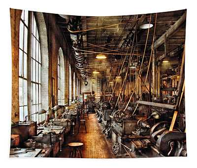 Machinist - Machine Shop Circa 1900's Tapestry
