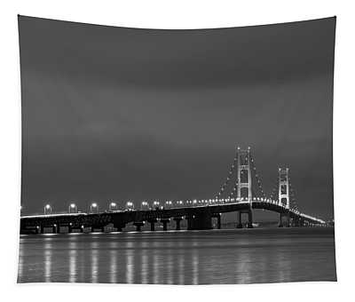 Mackinac Bridge Black And White Tapestry