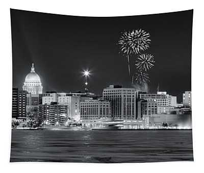 Madison - Wisconsin -  New Years Eve Panorama Black And White Tapestry